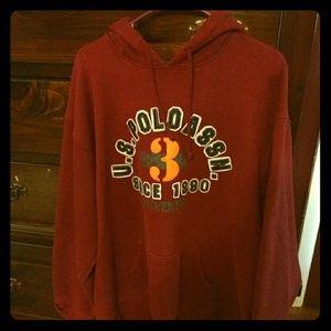 Men's Polo hoodie xl . color is maroon